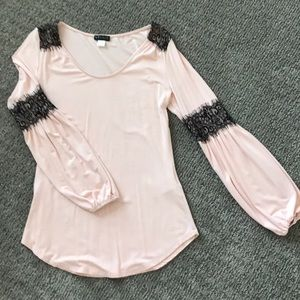 Peach and Black Lace Long Sleeve Blouse